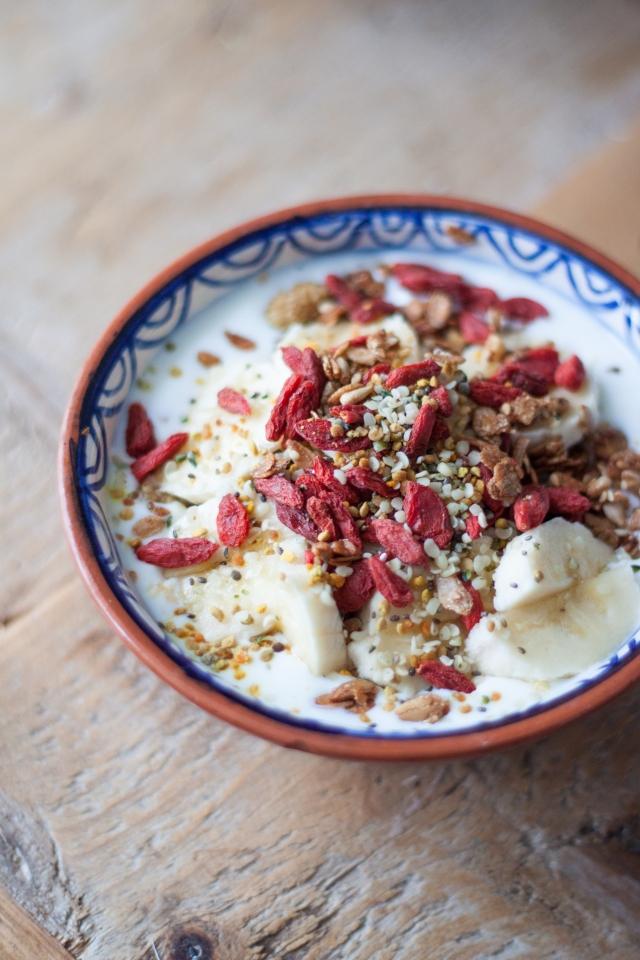 Greek Organic Yogurt with Fresh Fruit & Superfoods // by Rosalie Ruardy