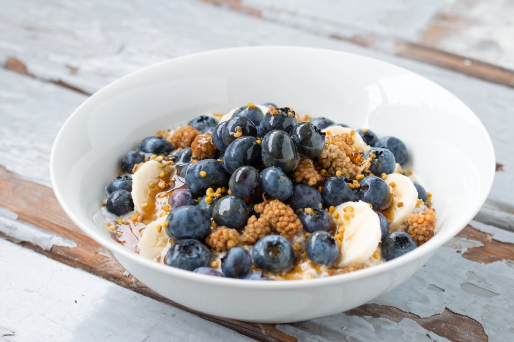Chia Oatmeal Pudding with Blueberries, Mulberries & Maple Syrup // Rosalie Ruardy #healthy #breakfast