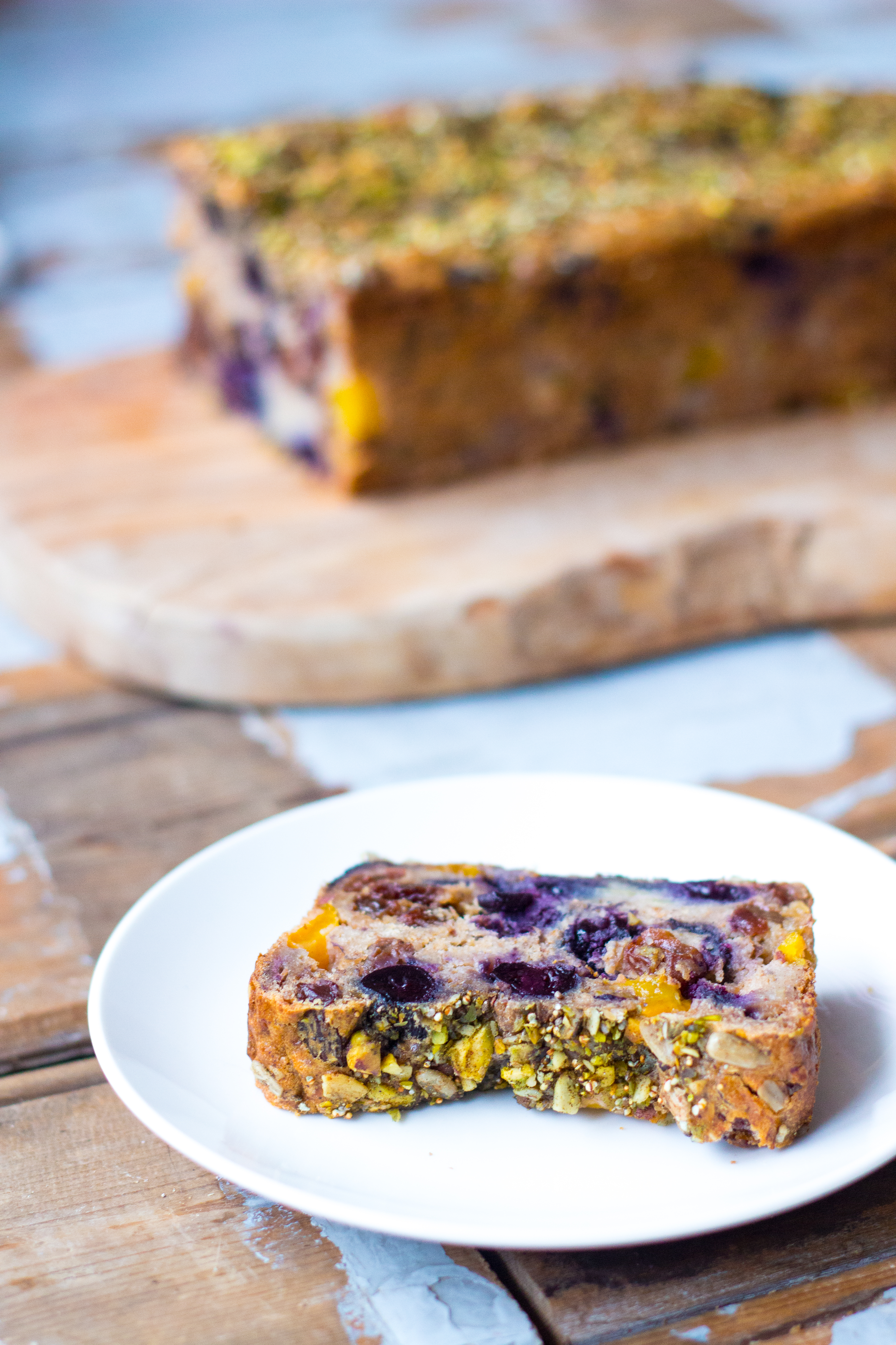 Banana Bread with Mango, Blueberries and a Pistachio Crust // by Rosalie Ruardy